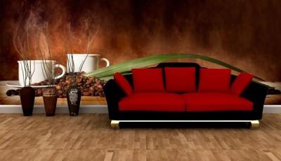Фотообои кофе красный диван