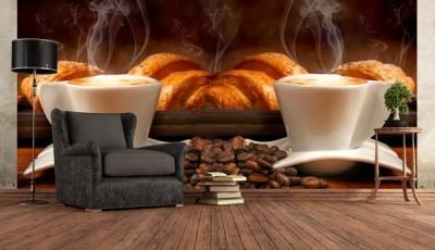Фотообои кофе круассан