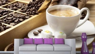 Фотообои кофе с белой чашкой