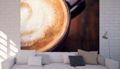 Фотообои кофе с диваном белого цвета