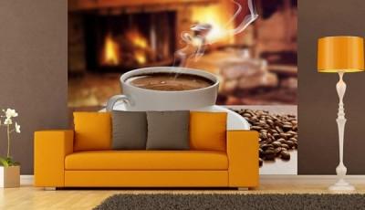 Фотообои кофе с желтым диваном