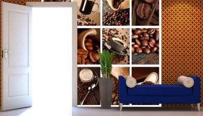 Фотообои кофе синий диван