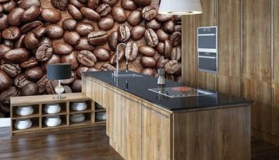 Фотообои кофе зерна на кухне