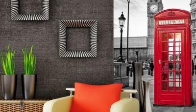 Фотообои с видами Лондона рядом с креслом