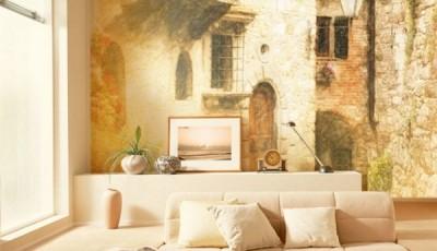 Фотообои старый город за диваном