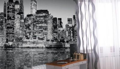 черно белые фотообои небоскребы