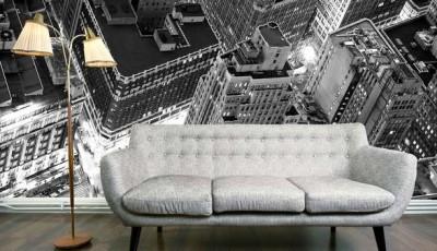 черно белые фотообои небоскребы в городе