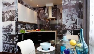 черно белые фотообои небоскребы в кухне