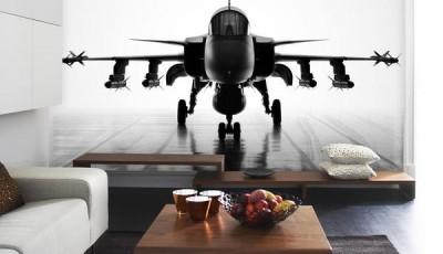 черно белые фотообои самолет