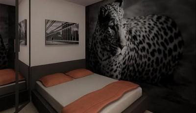 черно белые фотообои в интерьере леопард