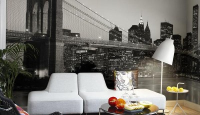 черно белые фотообои в интерьере мост
