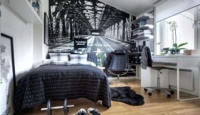 черно белые фотообои в интерьере небольшой комнаты