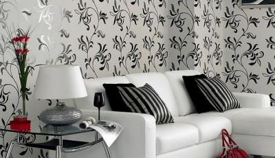 черно белые фотообои в интерьере орнамент