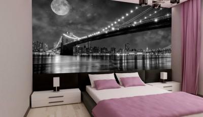 черно белые фотообои в спальне