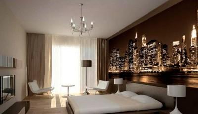 фотообои Нью-Йорк в интерьере спальни