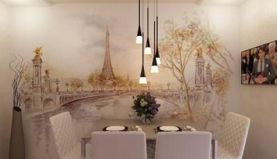 фотообои Париж в интерьере кухни