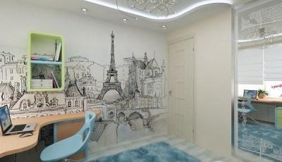 фотообои Париж в кабинете