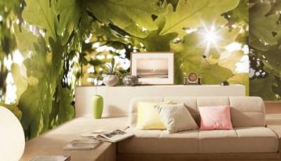 фотообои лес дубовые листья