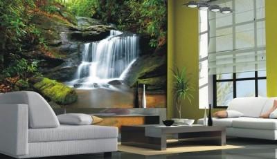 фотообои лес и торшер водопад