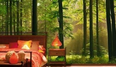 фотообои лес в интерьере спальни