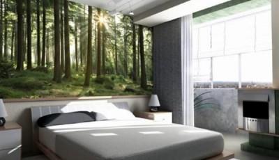 фотообои лес в спальне