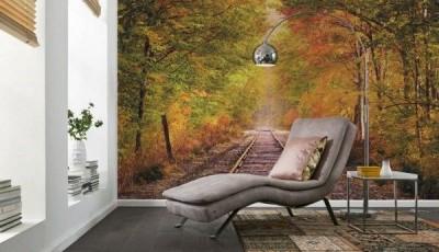 фотообои лес железная дорога