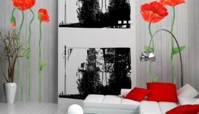 фотообои маки в гостиной