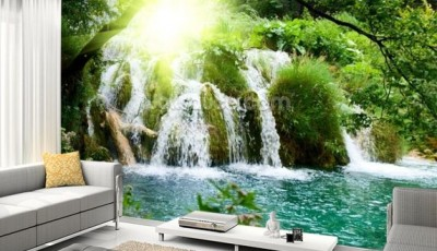 фотообои природа и водопады на стену фото в интерьере гостиной
