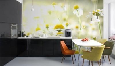 фотообои ромашки на кухне
