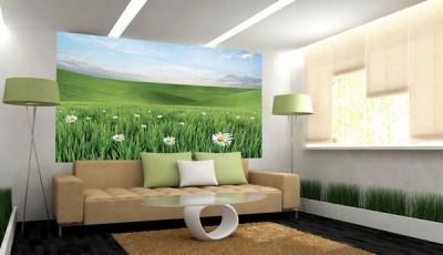 фотообои с ромашками за диваном