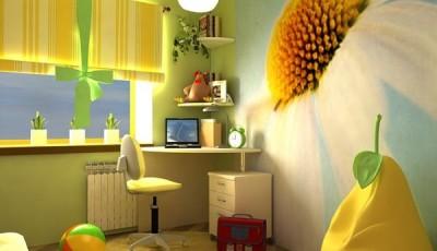 фотообои с ромашкой в комнате подростка