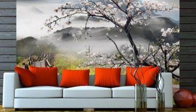 фотообои сакура с диваном