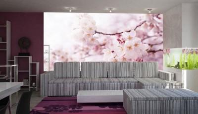 фотообои сакура в гостиной