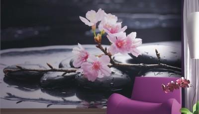 фотообои сакура в гостиной большие