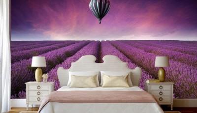 фотообои цветы лаванды в спальне