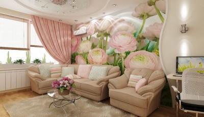фотообои цветы на стену в интерьере фото