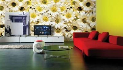 фотообои цветы в гостиной фото