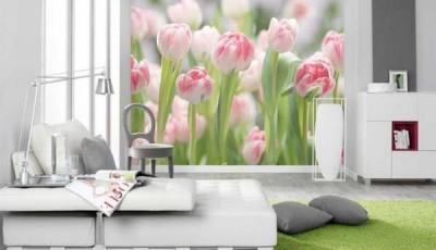 фотообои тюльпаны розовые