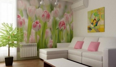фотообои тюльпаны розовые в зале