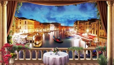 Фотообои окно Венеция