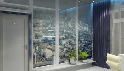 Фотообои окно город с высоты