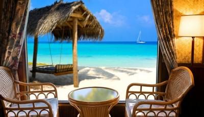 Фотообои окно тропический пляж