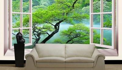 Фотообои вид из окна дерево