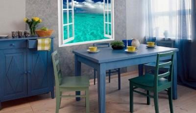Фотообои вид из окна на кухне