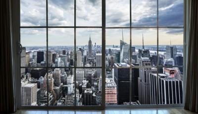 Фотообои вид из окна небоскребы