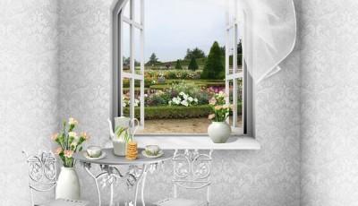 Фотообои вид из окна цветы