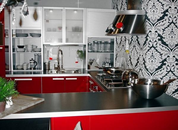Обои под красно белую кухню