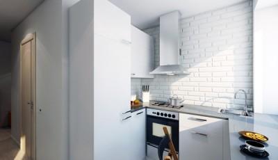 Обои для маленькой узкой кухни в хрущевке полностью белые