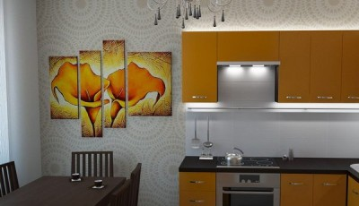 Обои для маленькой узкой кухни в хрущевке с орнаментом