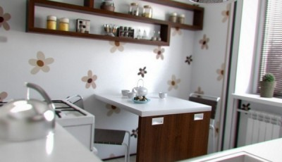 Обои для маленькой узкой кухни в хрущевке с ромашками